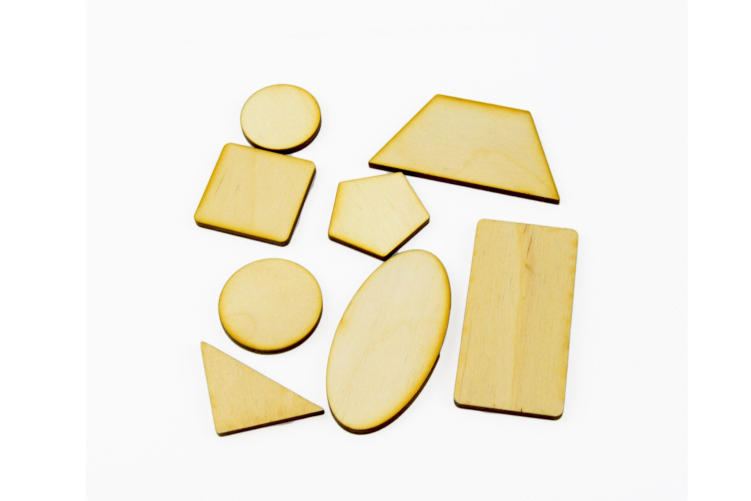 54 x wooden crafts geometrical shapes laser cut beads for Craft supplies wooden shapes