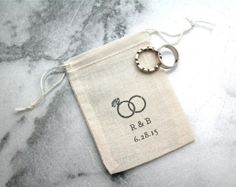 Personalized muslin wedding ring bag.  Rustic ring pillow alternative, ring bearer accessory, ring warming ceremony.  Vintage rings.