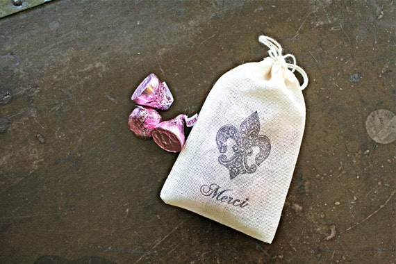 Wedding Gift Bags Nz : Wedding favor bags, 3x4.5. Set of 50 hand stamped cotton bags. Fleur ...