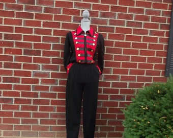 Vintage Sweater Jumpsuit with Leather Accents