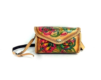 REDUCED~Floral Tooled Leather Bag - Western Leather Bag - Tooled Leather Satchel - Ethnic Painted Leather Purse