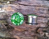 "1/2""(12mm) - Emerald Green Mother of Pearl Plugs - 1/2"" Gauge"