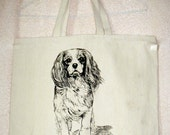 CAVALIER King Charles SPANIEL  Coming&Going double design X-Large Cotton Canvas Tote Bag