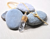 Quartz Dagger Wire Wrapped Necklace 22k Gold Filled