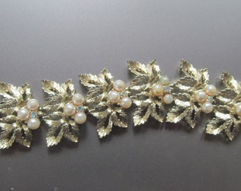 vintage gold tone leaf Judy Lee pearl Aurora Borealis bracelet