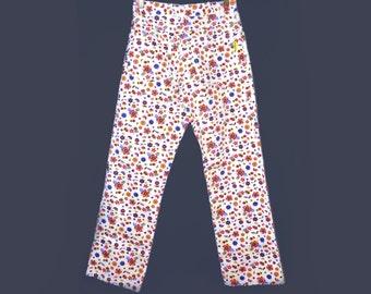 Amazing ditsy / Liberty style print floral high waist skinny jeans / denim / pants vintage Lapagayo / Holland 0 2 26 24 xs
