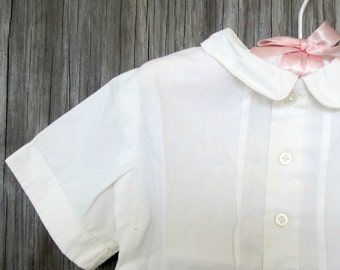 Vintage White Cotton Blouse Baby Girl Toddler 1950s