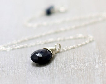 Genuine Sapphire Necklace, Sterling Silver Blue Sapphire Pendant September Birthstone Sapphire Jewelry Wire Wrapped