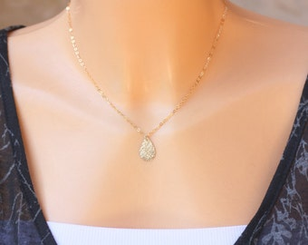 Gold drop necklace, tiny pendant necklace, bridesmaide necklace, gold brushed, gold  necklace