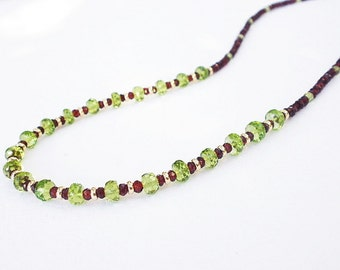 Natural Gemstone Peridot and Gemstone Garnet Faceted Rondelle 14kt Yellow Gold Filled Necklace