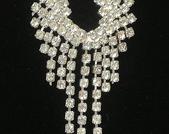 Vintage Rhinestone Art Deco Necklace and Pierced Earrings Set