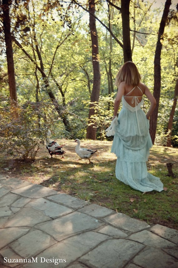 Boho Lace Wedding Dress Etsy : Lace bohemian wedding dress boho bridal long gown minty
