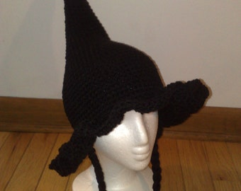 Crochet Wizard Hat, Halloween Witch Hat, Kids Witch Hat, Black Wizard Hat, Handmade Crochet Witch Hat - Made to Order