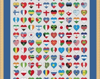 Flags of the World Cross Stitch Chart