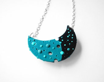 """Art Jewelry / moon necklace, large moon pendant, polymer clay, OOAK / """"The Other Side Of The Moon"""" /"""
