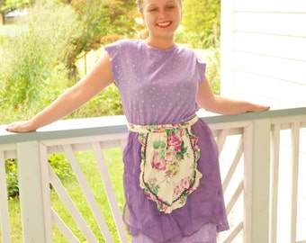 Vintage Purple Apron with White Panel Flowers