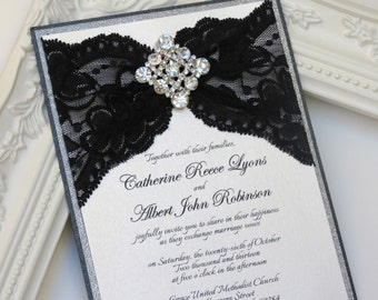 CATHERINE: Black and Silver Invitation, Glamorous Glitter Invitation, Crystal Brooch Wedding Invitation, Classic Wedding Invitation