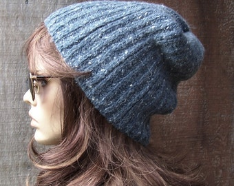 BLUE GREY BEANIE warm winter hat recycled sweater slouch slouchy adult handmade upcycled unisex men women adult