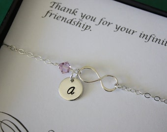 3 Bridesmaids Infinity Anklets with initials, Infinity Friendship Jewelry, Silver Infinity and Birthstone, Bridesmaids Gifts, Thank You Card
