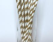 Metallic Gold Striped Paper Party Drink Straws