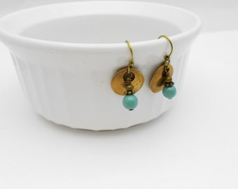 Bronze Metal Clay Earrings with Teal Swarovski Pearls, Gold and Teal, Pearl Earrings, Made to Order