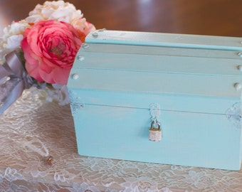 Medium Shabby Chic Card Box with a Lock and Key by Burlap and Linen Co