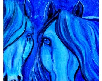"""Original Horse Print called """"Lovers""""  called """""""" by Charlotte Phillips"""
