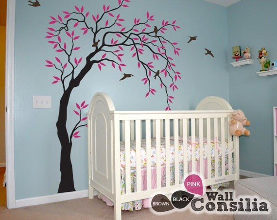 Baby nursery wall decals willow trees decal tree wall for Baby room tree mural