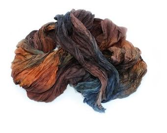 silk scarf Sea Sonata -  brown, orange, blue silk scarf.