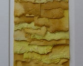 Torn Paper Collage in Hand Painted Shades of Yellow on Mulberry Paper