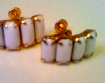 ON Sale Now Vintage 1950s Milk White Glass Earrings/ Formal Bridal Wedding Gold Plated Screw Back Earrings Evening Cocktail Jewelry