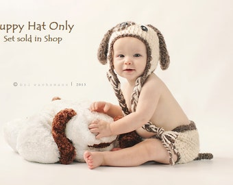 Brown Puppy Love Crocheted Earflap HAT ONLY- Made to Order- Any Size
