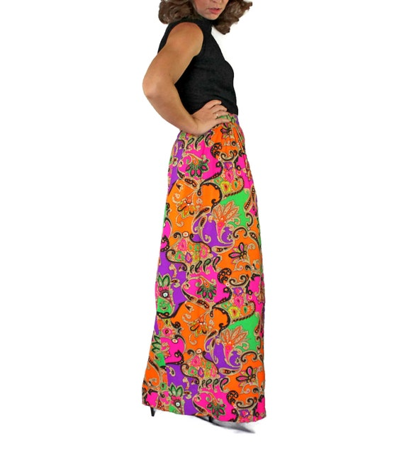 70s maxi skirt psychedelic print skirt pink purple green