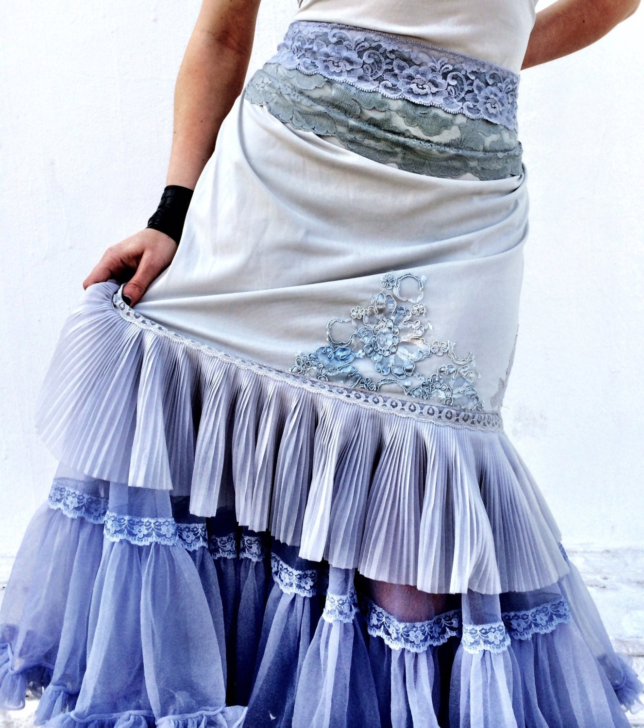 pale grey muted periwinkle lace & chiffon party dress by