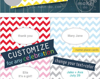 customizable place cards yellow place cards yellow chevron party printables wedding place cards menu cards yellow baby shower decorations