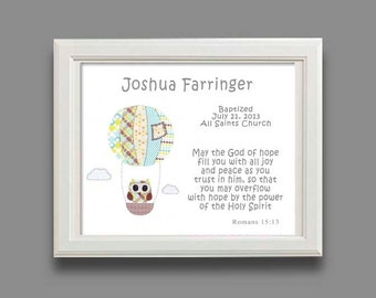 Baptism Gift - Christening Gift - Baby Boy Personalized Print - Owl Nursery Decor - hot air balloon - Name Wall Art for Nursery, - PRINT
