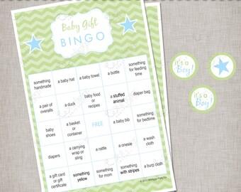 Chevron Baby Shower - Blue & Green Gift Bingo Game -  INSTANT DOWNLOAD