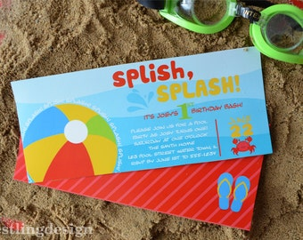 Beach Ball Pool Party Invitation Printable Package PDF