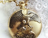 American Eagle Pocket Watch in gold tone.
