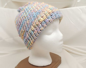 Cotton Candy Wool Loom Knit Hat