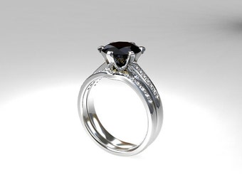 engagement ring set, 1.60ct black diamond, engagement, Diamond band, wedding ring set, white gold, black diamond, curved, solitaire, gothic