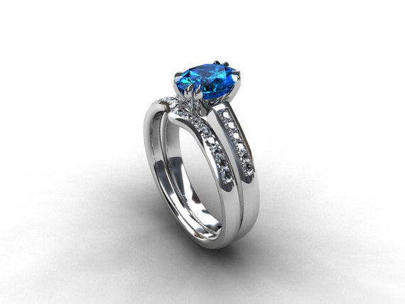 Oval cut swiss blue topaz engagement ring set solitaire blue for Blue topaz wedding ring sets