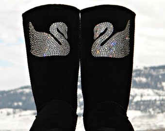 Crystal Swan design w/ Swarovski Jewels Handmade Custom Tall UGG Boots Bling Image by Glass Slippers Rhinestone Ladies Winter Shoes gift
