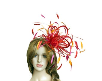 Red, Orange and Hot Pink Fuschia Fascinator Hat - wedding, ladies day - choose any colour feathers & satin