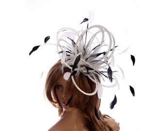 White and Black Satin  Feather Fascinator Hat - wedding, ladies day - choose any colour feathers & satin