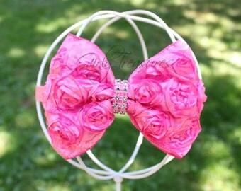 Hot Pink Bow Headband. Newborn Headband. Girl Headband. Baby Headband. Infant headband. Photo Prop.