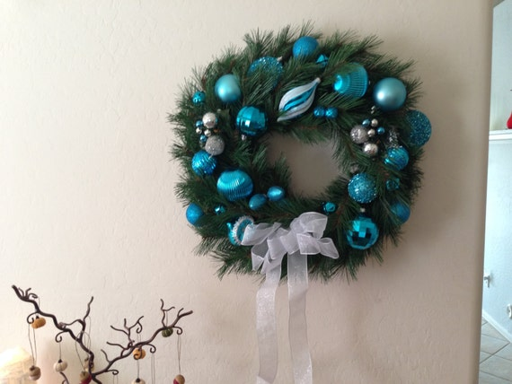 Evergreen Wreath is made with Shatter Proof Ornaments, Blue Front Door Wreath, Turquoise Wreath, Outdoor Christmas Wreath, Indoor Wreath