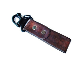 Military Hardware Leather Keychain - 3rd Anniversary Gift - Gifts For Men - Leather Gift Idea - Leatherwork - Gift Box Included