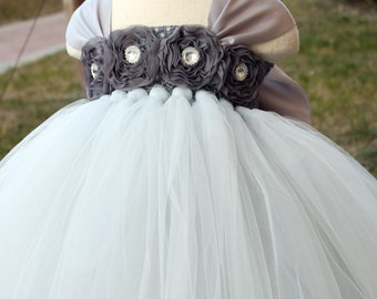 Flower Girl Dress Sliver Grey tutu dress baby dress toddler birthday dress wedding dress 1T 2T 3T 4T 5T 6T