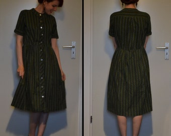 Vintage 1950s Green Shirtwaist Dress Size S